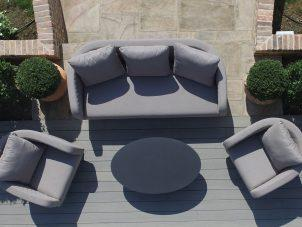 Garden Sofa Set - All Weather Fabric - 5 Seat - Coffee Table - GREY