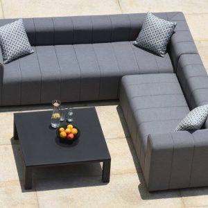 Garden Corner Sofa - All Weather - Coffee Table - Grey