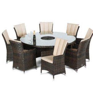 8 Seat Round Dining Set - Umbrella & Base - Lazy Suzy - Brown Polyweave