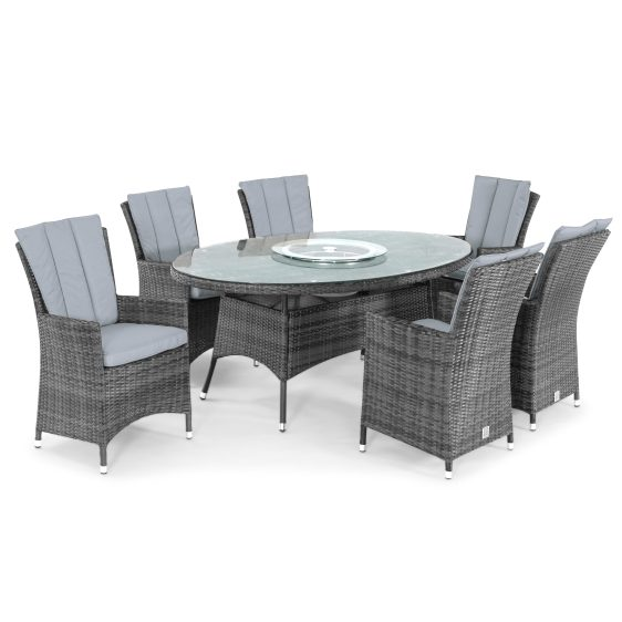 6 Seater Oval Dining Set - Ice Bucket - Parasol & Base - Grey Polyweave