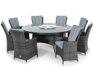 8 Seat Round Dining Set - Umbrella & Base - Lazy Suzy - Grey Polyweave