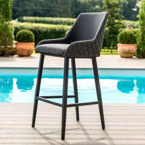 8 Seat Rectangular Fire Pit Garden Bar Set - All Weather Grey Fabric