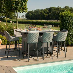 8 Seat Rectangular Fire Pit Garden Bar Dining Set - All Weather Grey Fabric