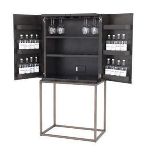 Drinks/Bar Cabinet - Charcoal Brown Oak Veneer - Bronze Metal Finish