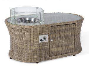 Oval Fire Pit Coffee Table - Natural Light Brown