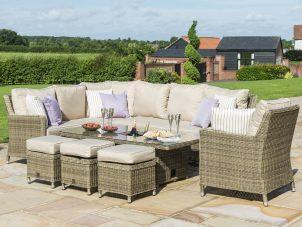 Garden Corner Sofa Set - Rising Table - Central Ice Bucket - Natural Poly Weave