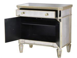 Cabinet - Antique Mirrored - 1 Drawer - 2 Door - Mirrored Furniture Range