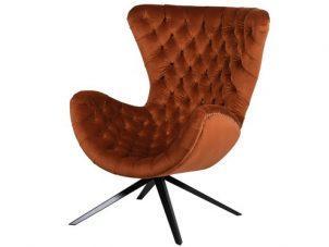 Swivel Chair - Deep Buttoned Burnt Orange Velvet - Studded Surround