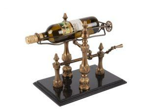Wine Bottle Stand - Brass & Marble - Workable Wine Display Piece