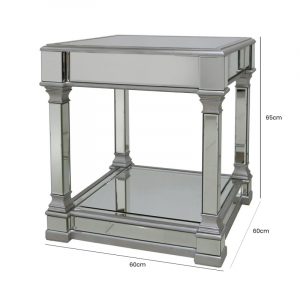 Lamp Table - Champagne Silver Finish - Mirrored - Mirrored Furniture Range