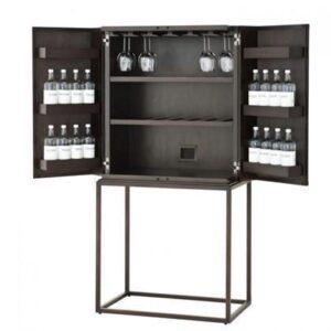 Drinks/Bar Cabinet - Mahogany Veneer - Coffee & Bronze Finish