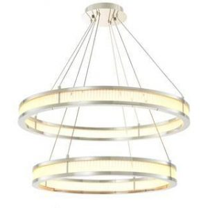 Chandelier - Double Ring - Frosted Glass - Polished Chrome Finish