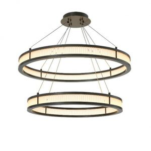 Chandelier - Double Ring - Frosted Glass - Antique Bronze Finish