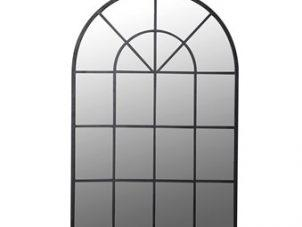 Wall Mirror - Arched Design - Black Metal Finish