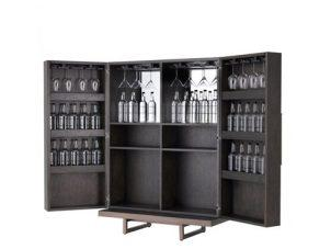 Drinks/Bar Cabinet - Mocha Straight Oak Veneer - Medium Bronze Finish - Grey Handles