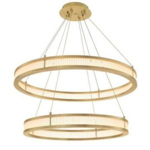Chandelier - Double Ring - Frosted Glass - Antique Brass Finish