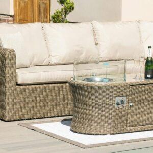 Garden Corner Fire Pit Sofa Set - Fire Pit Coffee Table - Light Poly Weave