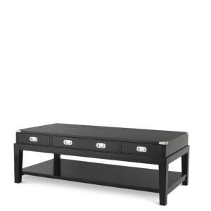 Coffee Table - Black & Chrome Edged - 3 Drawer - Dorchester Range