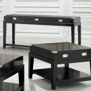 Console - Black & Chrome Edged - 3 Drawers - 1 Shelf - Dorchester Range