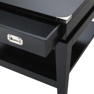 Lamp/Side Table - Black & Chrome Edged - 1 Drawer - Dorchester Range