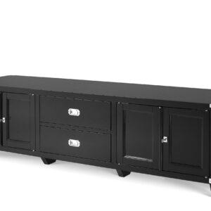 TV Cabinet - Black & Chrome Edged - 2 Drawer 4 Door - Dorchester Range