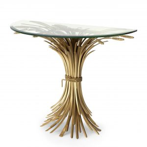 Console Table - Half Moon - Glass Top - Antique Gold Finish