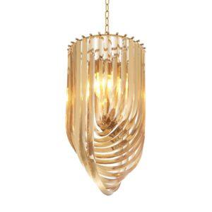 Chandelier - U Shaped Polished Murano Design - 5 Lights - Large