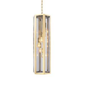 Chandelier - Brass & Smoked Glass - Hexagon Shape - 6 Lights