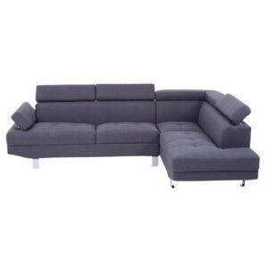 Large Corner Sofa - Contemporary Grey Linen - Chrome Finished Feet