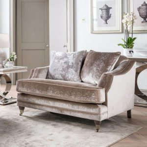 1 Seater Sofa - Soft Champagne Velvet - Brass - 2 Scatter Cushions