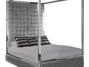 5ft 4 Poster Bed King-Size Bed - Chrome Surround - Paramount Grey Velvet