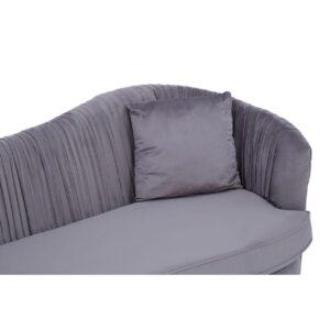 3 Seater Sofa - Deep Pleated Soft Grey Velvet - Brass Finished Base Surround