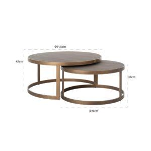 Coffee Table - Set Of 2 - Inlaid Oak Top - Brass Finish - Banbury Range