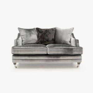 2 Seater Sofa - Soft Pewter Velvet - Brass - 3 Scatter Cushions