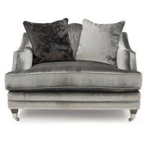 1 Seater Sofa - Soft Pewter Velvet - Brass - 2 Scatter Cushions