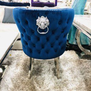 Dining Chair - Blue Velvet Deep Buttoned Chrome Leg - Lion knocker