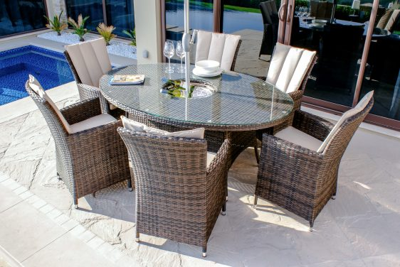6 Seater Oval Dining Set - Ice Bucket - Parasol & Base - Brown Polyweave