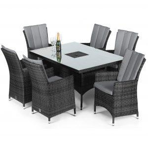6 Seater Rectangular Dining Set - Ice Bucket - Parasol & Base - Grey Polyweave
