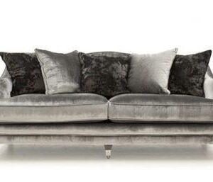 4 Seater Sofa - Soft Pewter Velvet - Brass - 5 Scatter Cushions
