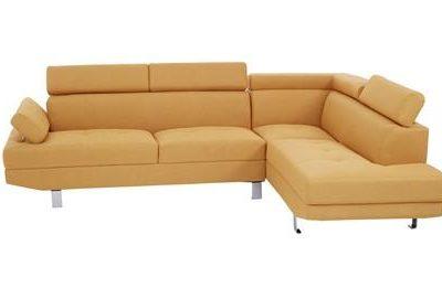 Large Corner Sofa - Contemporary Ochre Linen - Chrome Finished Feet