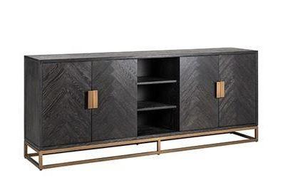 Long Sideboard - Brass & Black Ash Finish - 4 door - Blackbone Collection