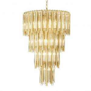Chandelier - Glass & Brass - 4 Tiered - 13 Lights - Large