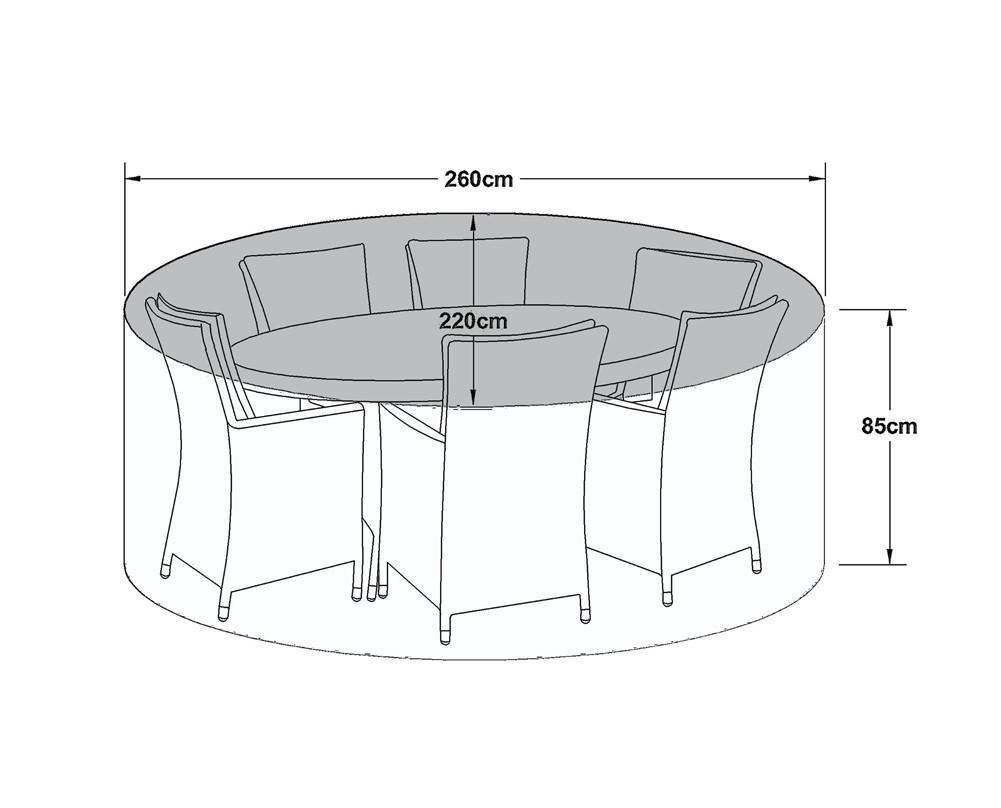 6 Seat Outdoor Dining Set Cover - All Weather - Oval