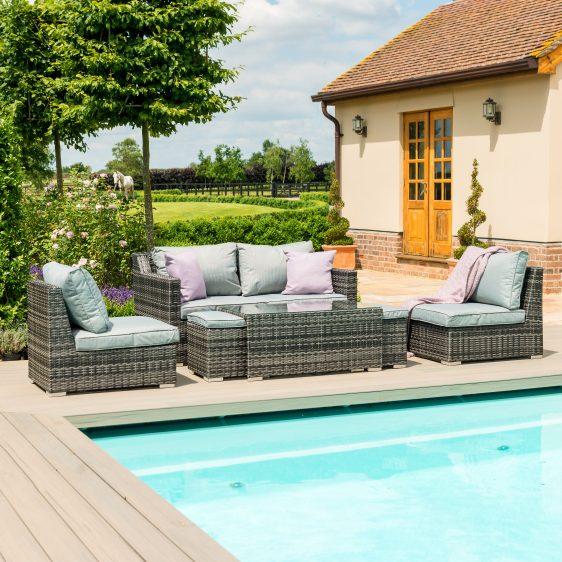 Garden 4 Seat Sofa Set - Coffee Table - Stools - Grey Poly Weave