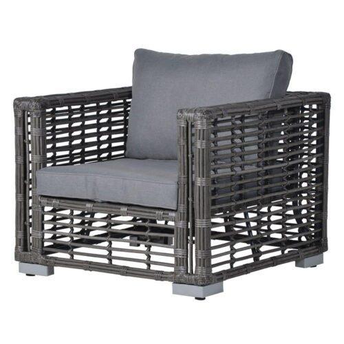 Garden Sofa Set - 4 Piece - Grey Poly Rattan