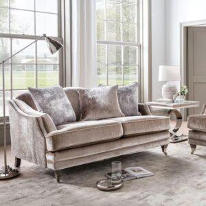 2 Seater Sofa - Soft Champagne Velvet - Brass - 3 Scatter Cushions