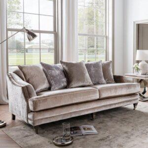 4 Seater Sofa - Soft Champagne Velvet - Brass - 5 Scatter Cushions