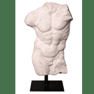 Male Torso Sculpture - Abstract Torso - Black Metal Base - Roman Stone Finish