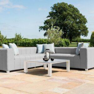 Garden Corner Sofa - All Weather - Coffee Table - Light Grey