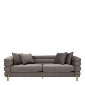 4 Seater Sofa - Deep Ribbed - Savona Grey Velvet - Brushed Brass Finish Legs